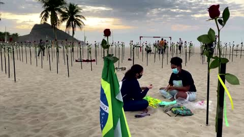 Red roses mark Brazil's 500,000 COVID-19 deaths
