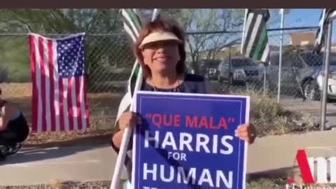 The welcoming committee for Kamala Harris down at the border