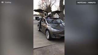 Um Tesla equipado com luzes de natal