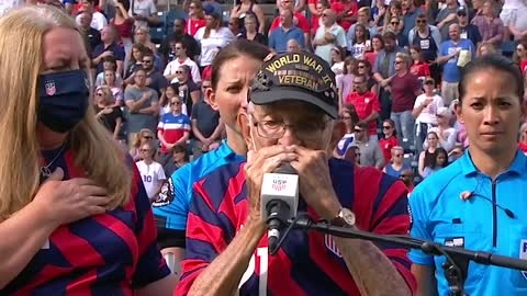 ***ABSOLUTELY DISGUSTING***Women's Soccer Team turned their backs as 98-year-old World War II...