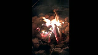 Winter Campfire In Alberta