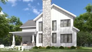 4 bedroom Farmhouse home design, large kitchen with pantry, 2-car garage (Plan 2373-V2)
