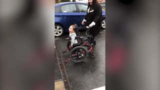 Boy told he'd never walk toddles into nursery for the first time