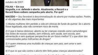 promove o ABORTO e os fiéis apoiam ...