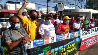 Marcha contra peaje en Turbaco