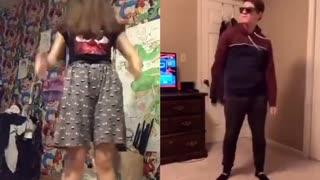 Funny teenage girl dancing