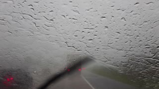 Driving in the heavy rain