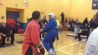 Professor lux Kicks a helmet of head in Cleveland