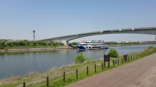 A cruise ship passing under the bridge.