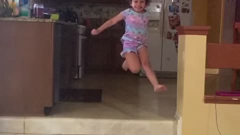 5 years old extreme jumping skills in slow motion