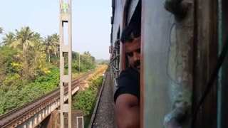 Outside view from running train..