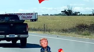 Keep America great VOTE TRUMP sign on highway