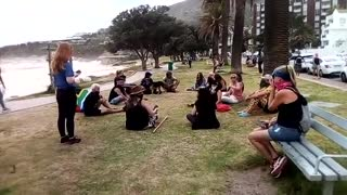 Protest at Camps Bay against continued level 3 beach closures