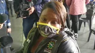 Eugenia Paulo-Goagoses of Masiphathisane Primary school gets vaccine