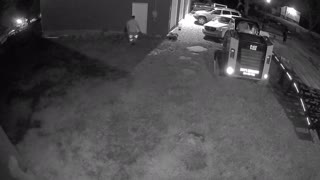 Fire fighter falls in security footage