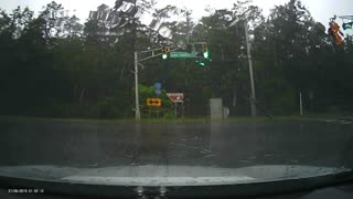 Lightning Crashes Close to Car