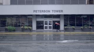 Rainy Street With Red Umbrella Girl Walking