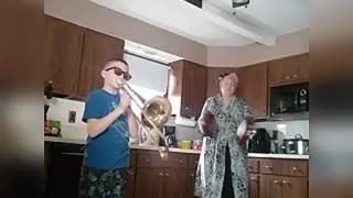 Mother and Son Have Quarantine Band Practice