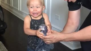 Intense Reaction to Popping Bubble Wrap