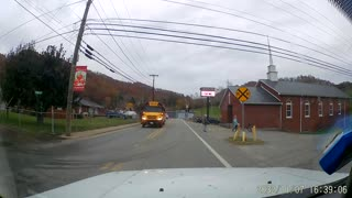 School Bus Honks Horn at Car to Protect Children