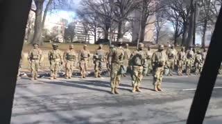Troops turn their back on Joe Biden