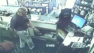Security camera captures man practicing his dance moves