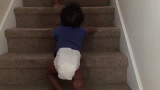 Blasian Baby Brother Climbs Up Stairs!