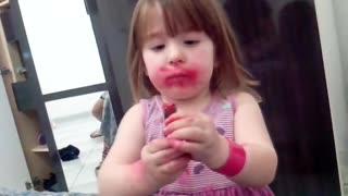 Little Girl Denies Eating Lipstick