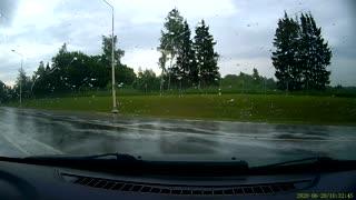 Rainy Roads Cause Highway Hydroplane