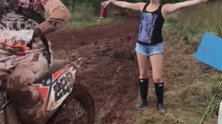 Woman Gets Blasted with Mud