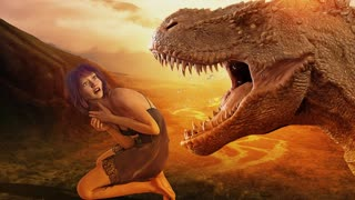 Cave Girl and a T-Rex.