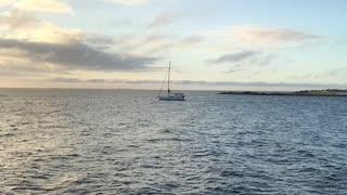 Sailboat leaving Saint Petersburg yacht basin early morning