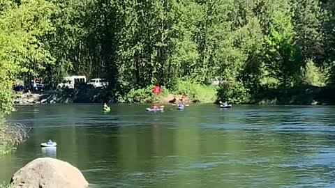 Kayakers on the Wenatchee River in Leavenworth, Washington