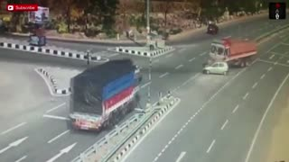 CCTV Record Accident Footage On Road Truck Accident
