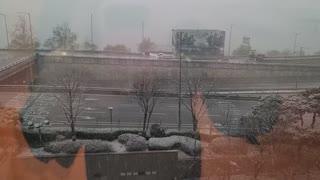 Snowy landscape seen through the window.