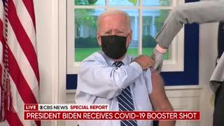 President Biden gets COVID-19 booster shot live on TV