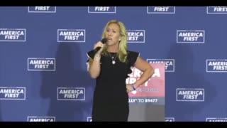 Marjorie Taylor Geene SHREDS Biden-Harris Admin At America First Rally