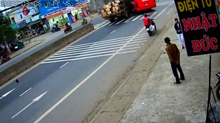 Truck Crashes into Bus