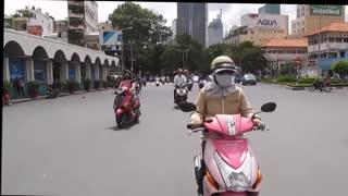 Vietnam, HCMC - Using a zebra crossing - 2014-06