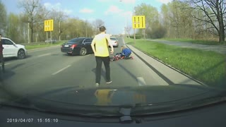 Footage Shows A Deer Hitting A Motorcyclist In The City