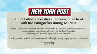 Capitol police officer killed after being hit in the head with fire extinguisher during DC riots