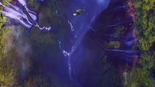 Blue water fall