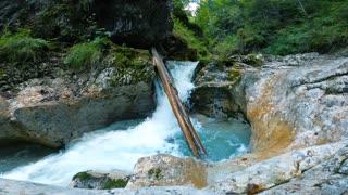 Blue waterfall water