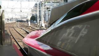 Shinkansen leaving Tokyo