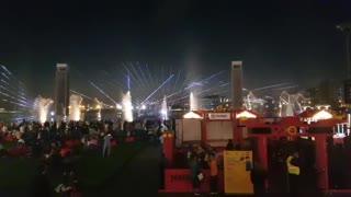 Water dance on the music in Dubai Festival City