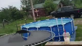 Leap from Rooftop to Trampoline Ends a Bit Short