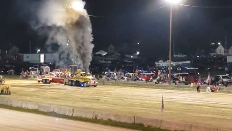 Coshocton County Fair in Ohio. Semi Truck Pull.