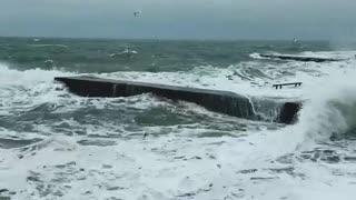 Winter sea. Small storm.