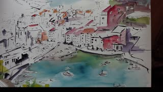Vernazza Italy Art Watercolors and Ink Painting Demo