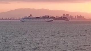 beautiful sunset at manila bay!!quarantine on our ship!!